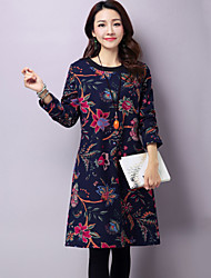 Women's Casual/Daily Simple A Line / Loose Plus Thick Velvet Dress Print Long Sleeve Blue / Brown Cotton Fall / Winter