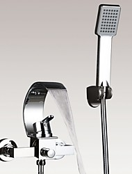 Contemporary Art Deco/Retro Modern Tub And Shower Waterfall Handshower Included Ceramic Valve Two Holes Single Handle Two Holes Chrome ,