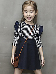 cheap -Girls' Daily Striped Dress,Cotton Spring Fall Long Sleeve Stripes Navy Blue