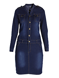 Women's Bodycon/Casual Micro-elastic Long Sleeve Knee-length Dress (Denim)