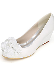 cheap -Women's Shoes Satin Spring / Summer Basic Pump Wedding Shoes Wedge Heel Appliques Blue / Champagne / Ivory / Party & Evening
