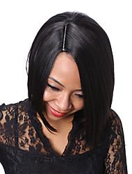 Donna Parrucche sintetiche Pantaloncini Lisci Nero Parrucca riccia stile afro Per donne di colore Taglio medio corto parrucca nera