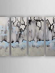 cheap -Oil Painting Abstract Set of 4 Hand Painted Canvas with Stretched Framed Ready to Hang