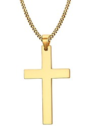 cheap -Men's Pendant Necklace  -  Stainless Steel, Gold Plated Cross Simple Style, Fashion Golden Necklace For Christmas Gifts, Party, Daily