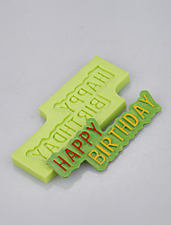 cheap -Happy Birthday Card Shape Birthday Cake Decoration Silicone Mold of Food Grade Ramdon Color