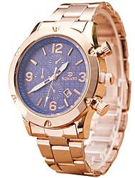 baratos -Homens Relógio de Pulso Venda imperdível / Legal / / Aço Inoxidável Banda Casual Dourada