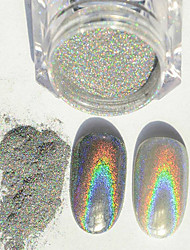 cheap -1g/Box New Rainbow Shinning Mirror Nail Glitter Powder Perfect Holographic Nails Dust Laser Holo Nails Pigment