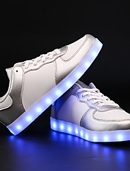 cheap -Unisex Shoes Leatherette Spring / Fall Comfort / Novelty Sneakers Running Shoes / Walking Shoes Flat Heel Lace-up / LED Silver / Pink /