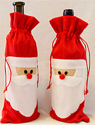 cheap -1 Pieces Of red Wine Bottle Cover to Santa Claus Christmas Dinner Table Decoration Home Party