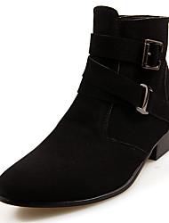 Masculino-Botas-Conforto Botas da Moda-Salto Baixo-Preto Marrom Cinza-Couro Ecológico-Casual