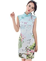 cheap -Summer Dress Vintage Modified Thin Temperament Chinese Cheongsam Dress Wholesale Split