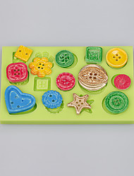 cheap -Home Made Button Shape Silicone Cake Mold For Fondant Chocolate Fimo Clay Decoration Ramdon Color