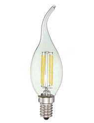 4W E12 Luzes de LED em Vela C35 4 leds COB Regulável Branco Frio 380lm 6000K AC 110-130V