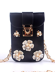 cheap -Women's Bags PU leatherette Mobile Phone Bag Beading Pearl Imitation Pearl Crystal/ Rhinestone Flower for Event/Party Casual Outdoor All