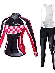 cheap -Malciklo Cycling Jersey with Bib Tights Women's Long Sleeves Bike Compression Clothing Tights Quick Dry Front Zipper Wearable High