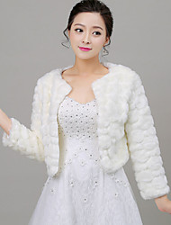 Long Sleeves Faux Fur Wedding Party Evening Women's Wrap With Feathers / fur Shrugs