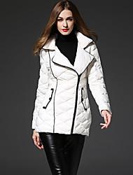 Недорогие -твердый белый вниз coatsimple frmz женщин достигла своего пика отворот с длинным рукавом