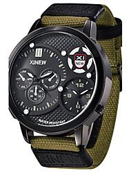 Hombre Reloj Deportivo Reloj Militar Reloj de Moda Reloj de Pulsera Cuarzo Cuarzo Japonés Calendario Resistente al Agua Dos Husos Horarios