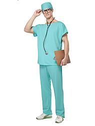 billige -Sygeplejeske Cosplay Kostumer / Festkostume Herre Halloween Festival / Højtider Halloween Kostumer Hvid / Grøn Ensfarvet