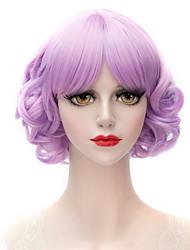 abordables -Pelucas sintéticas Con flequillo Pelo sintético Morado Peluca Mujer Corta Sin Tapa