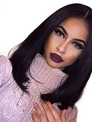 cheap -Human Hair Full Lace Wig Straight Wig Natural Hairline / African American Wig / 100% Hand Tied Women's Short / Medium Length Human Hair Lace Wig