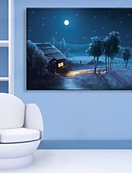 cheap -E-HOME® Stretched LED Canvas Print Art Small Village of Night LED Flashing Optical Fiber Print One Pcs