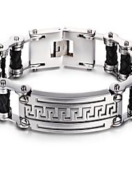 cheap -Kalen®2016  New Fashion Men's Bike Chain Bracelet 316L Stainless Steel&Leather Link Chain Bracelet  Gift