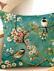 1Pcs Flower Bird Botany Pattern Cotton Pillow Cover