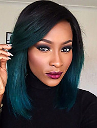 Synthetic Lace Front Wigs Back to Dark Green Glueless Ombre Tone Color Short Bob Hair Wig