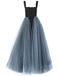 Ball Gown Spaghetti Straps Sweep / Brush Train Tulle Formal Evening Dress with Pick Up Skirt Tassel(s) by Shang Shang Xi