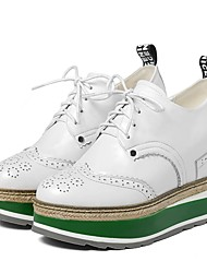 cheap -Women's Shoes Leather Fall Comfort Oxfords Walking Shoes Platform Lace-up White / Black