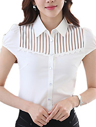 cheap -Women's Shirt Collar Solid Wild Mesh Lace Stitching Commuter OL Work Plus Size Short Sleeve Shirt