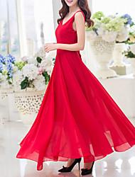 abordables -Femme Dos Nu Balançoire Robe Soirée Sexy,Couleur Pleine Col en V Maxi Sans Manches Rouge Noir Polyester Eté Micro-élastique Fin