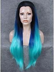 Недорогие -Парики из искусственных волос Прямой Искусственные волосы Синий Парик Жен. Лента спереди Синий