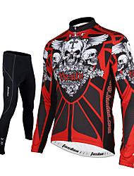 billiga Sport och friluftsliv-TASDAN Herr Långärmad Cykeltröja och tights - Svart Cykel Cykling Tights Tröja Byxa Klädesset, 3D Tablett, Snabb tork, Andningsfunktion,