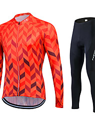 cheap -Fastcute Men's Women's Long Sleeves Cycling Jersey with Tights - Silver+Blue Bike Tights Jersey Clothing Suits, Quick Dry, Breathable,