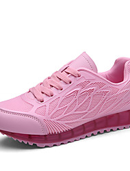 Women's Athletic Shoes Comfort Light Soles PU Tulle Spring Summer Fall Outdoor Athletic Casual Running Lace-up Wedge HeelBlushing Pink