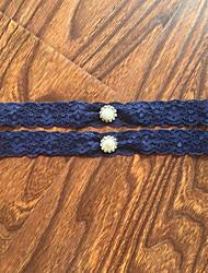 cheap -Garter Stretch Satin / Lace Lace / Rhinestone Blue Wedding Accessories