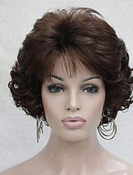cheap -Synthetic Wig Curly Wavy With Bangs Middle Part Brown Women's Capless Capless Wig Short Synthetic Hair