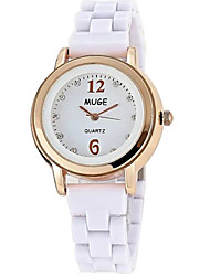 Women's Fashion Quartz Ceramic Casual Watch Cool Watch Unique Watch Simple Diamond Round Dial Classic Watch