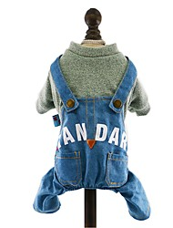 Dog Clothes/Jumpsuit Denim Jacket/Jeans Jacket Dog Clothes Winter Spring/Fall Jeans Fashion Cowboy Dark Blue Yellow Pink Light Blue