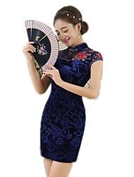 cheap -One-Piece Short Sleeve Medium Length Blue Lolita Dress Cotton