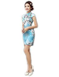 cheap -One-Piece Short Sleeve Medium Length Sky blue Lolita Dress Polyester
