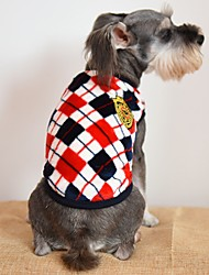 cheap -Cat Dog Shirt / T-Shirt Dog Clothes Casual/Daily Fashion Plaid/Check Gray Yellow Red Costume For Pets