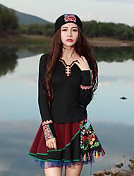 abordables -Mujer Tejido Oriental Camiseta, Escote en Pico Bordado