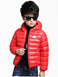 Piumino e giubbino di cotone / Completo e giacca Maschile Casual Tinta unita Poliestere Inverno / Primavera / AutunnoNero / Arancione /