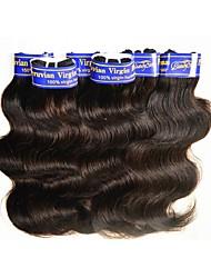 abordables -Cheveux Péruviens Ondulation naturelle Cheveux Vierges Tissages de cheveux humains Tissages de cheveux humains Noir Naturel
