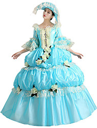 cheap -Victorian Rococo Costume Women's Party Costume Masquerade Blue Vintage Cosplay Lace Cotton