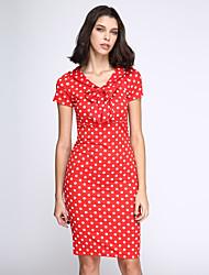 Moulante Robe Femme Soirée Vintage,Points Polka Col en V Mi-long Manches Courtes Nylon Eté Taille Normale