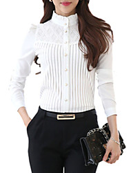 cheap -Women's Fine Stripe Stand Collar Lace Patchwork Stripe Puff Sleeve Wild Slim Shirt